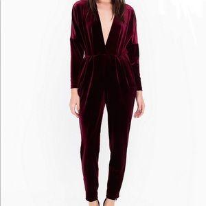 ⭐️ American Apparel velvet deep V jumpsuit